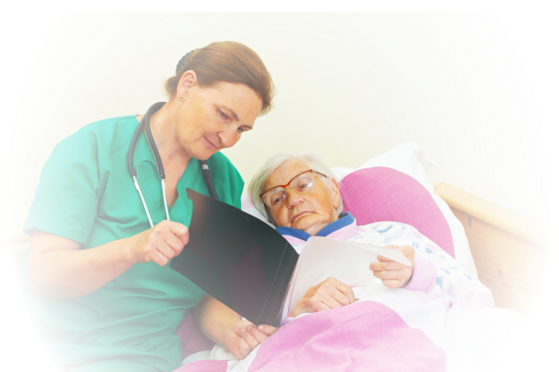 a caregiver reading results to an old woman